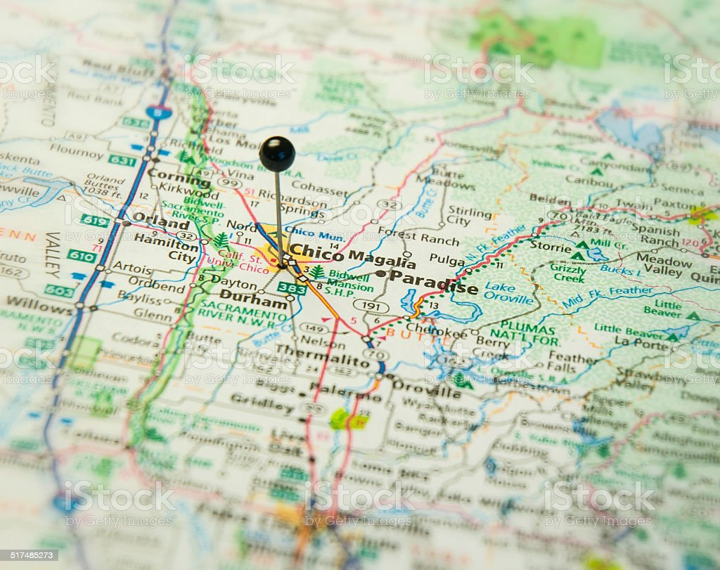 Travel Road Map Macro Of Chico Thermalito California stock photo – Travel Map Of California