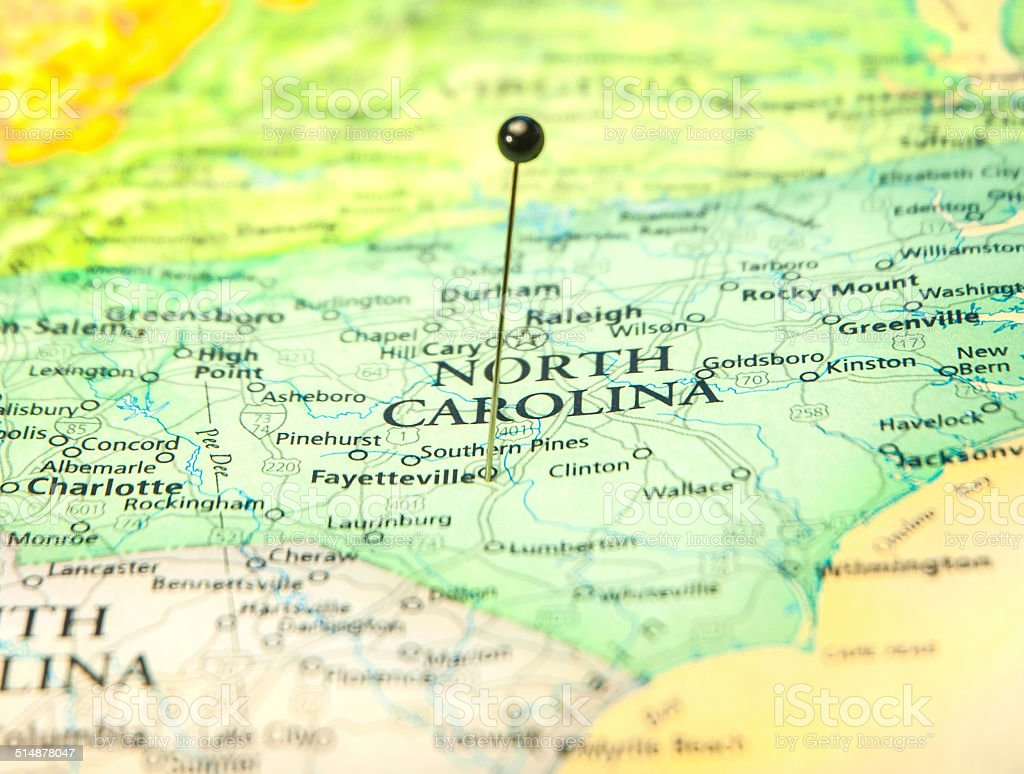Travel Road Map Of Fayetteville North Carolina stock photo