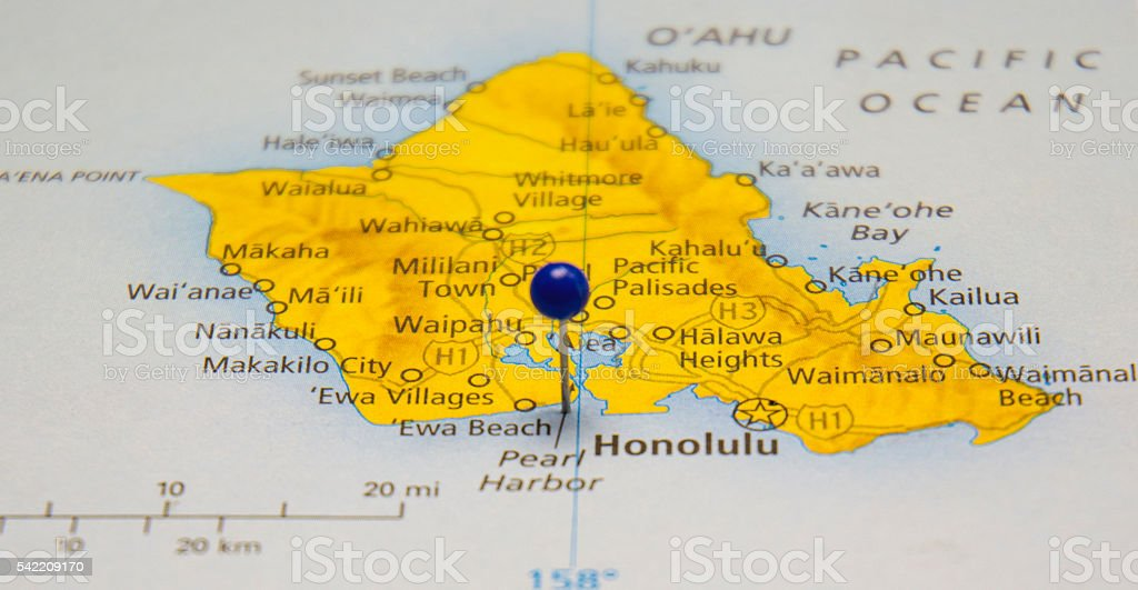 Travel Road Map Of Pearl Harbor And Honolulu Hawaii stock photo