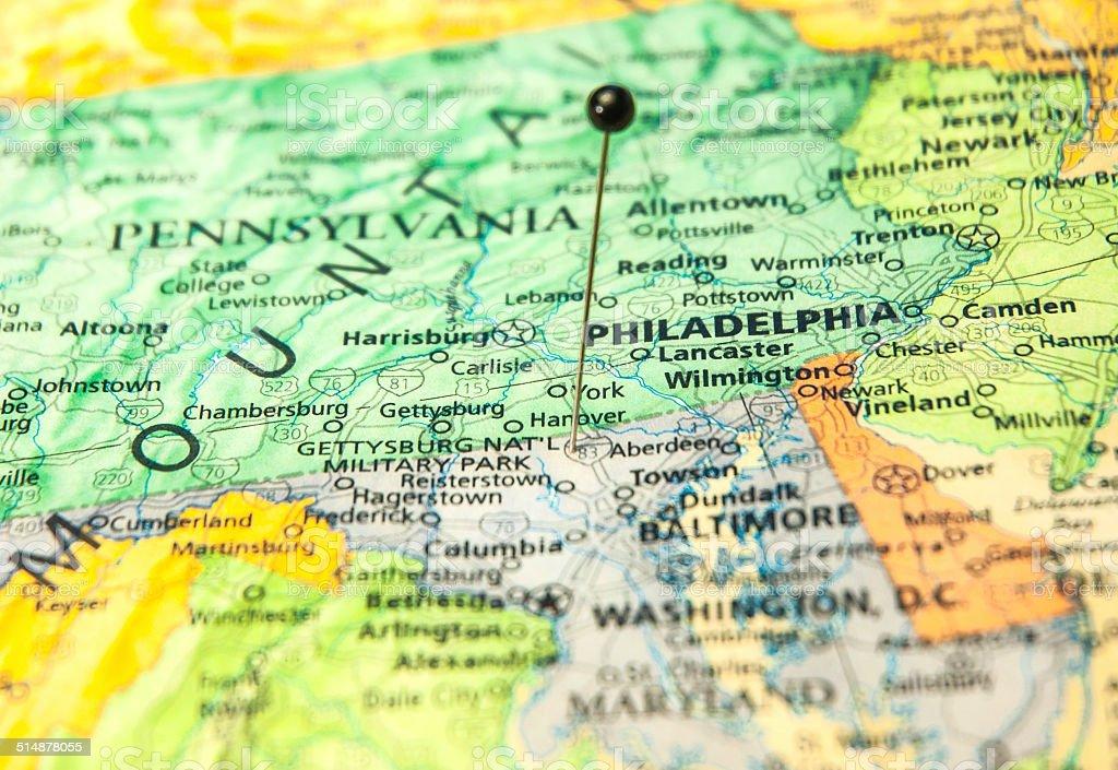 Travel Road Map Of Philadelphia And Washington Dc Area Stock Photo - Us map philadelphia