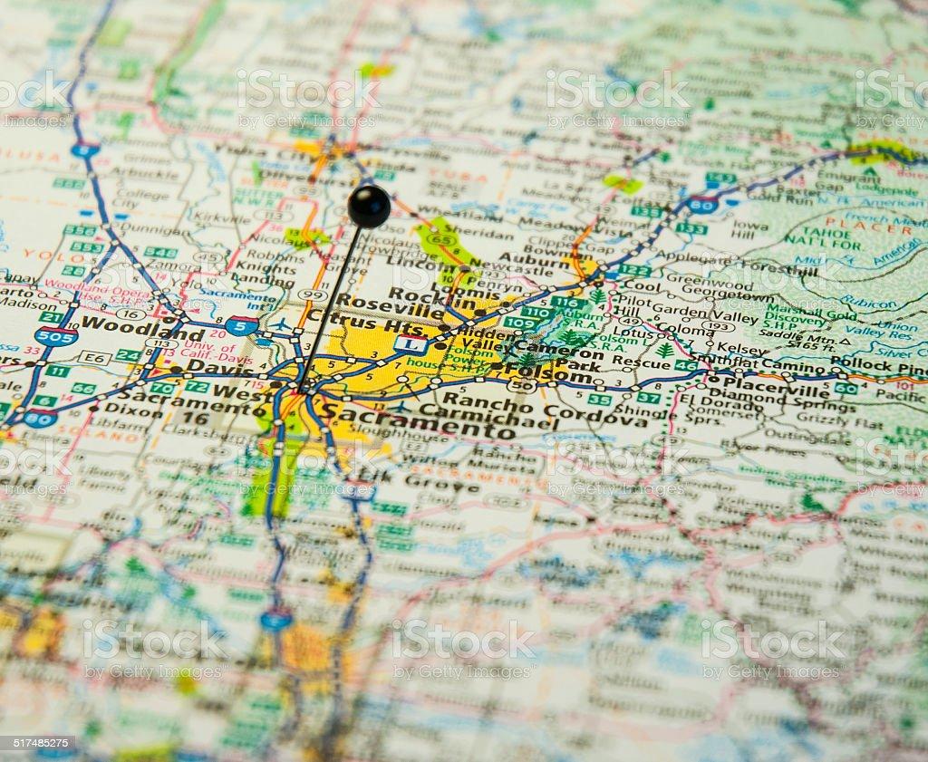 Travel Road Map Of Sacramento California stock photo