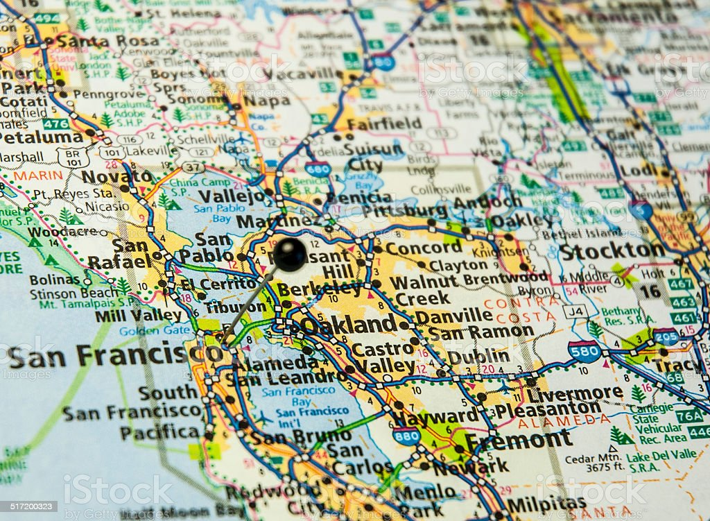 Travel Road Map Of San Francisco And Oakland California stock – Travel Map Of California