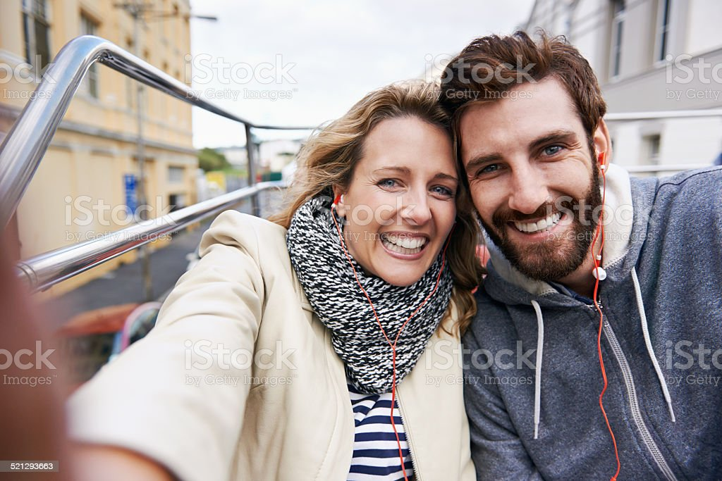 travel selfie stock photo