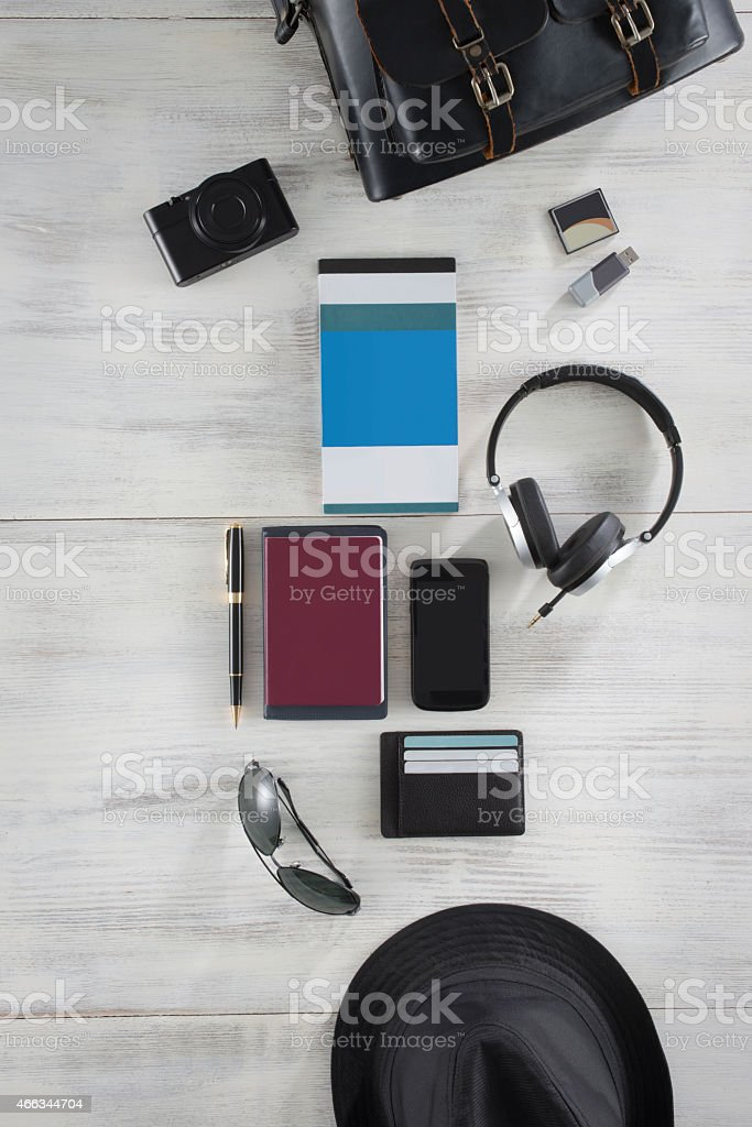 Travel Set with digital camera stock photo