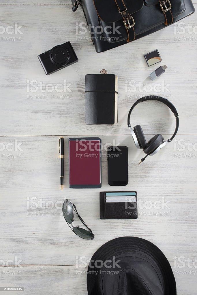 Travel Set with digital camera stock photo