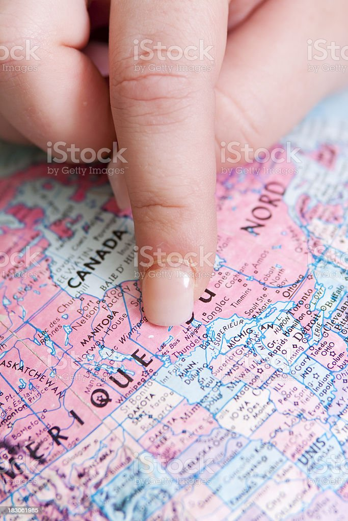 Travel the Globe Series: Finger on Canada stock photo