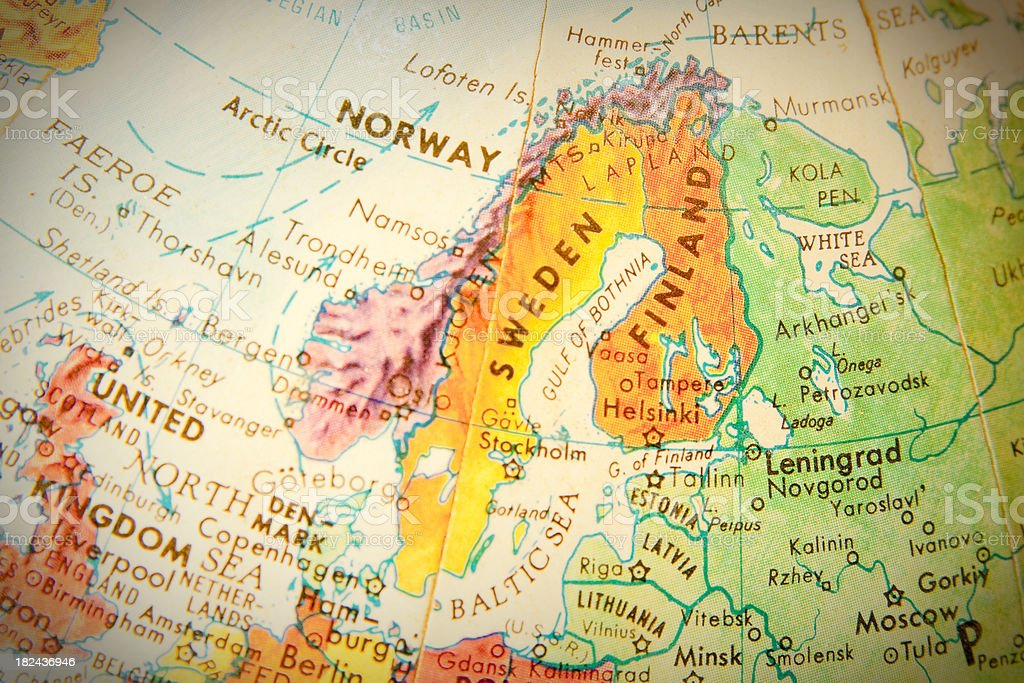 Travel the Globe Series - Norway, Sweden, and Finland stock photo