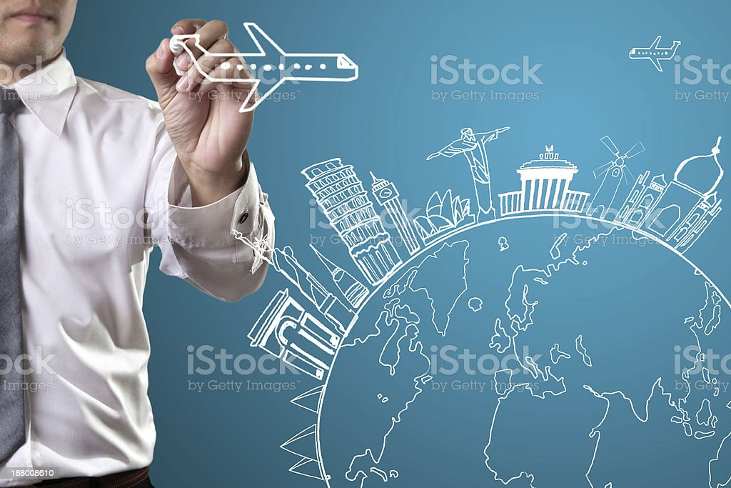 Travel the world monument concept stock photo