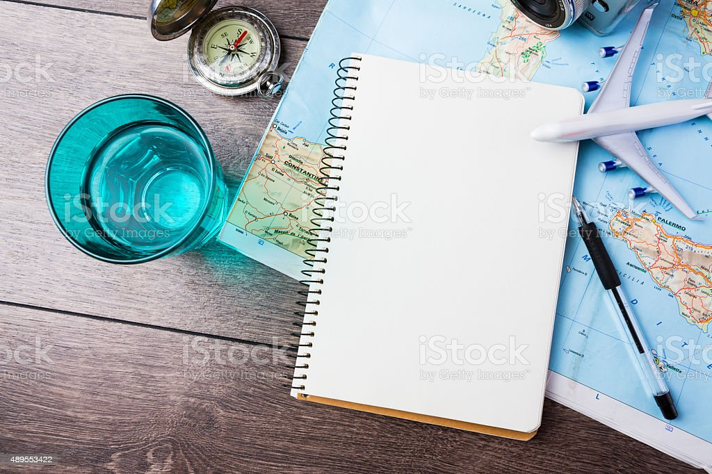 Travel theme tools stock photo