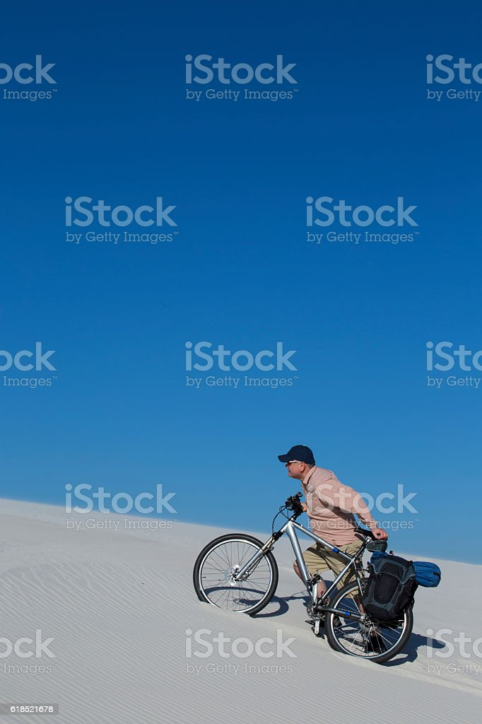 Travel through the desert. stock photo