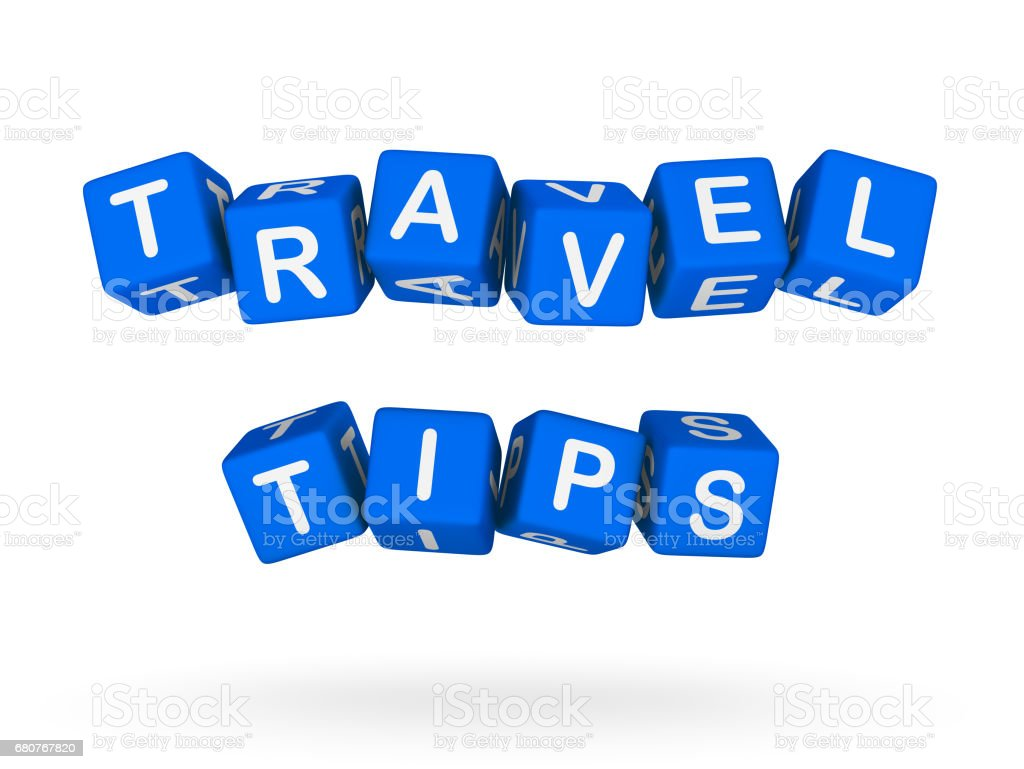 Travel Tips Colorful Sign stock photo