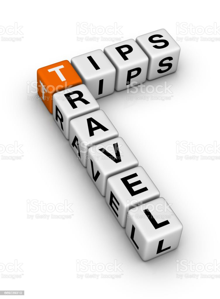 Travel Tips Crossword Puzzle. stock photo