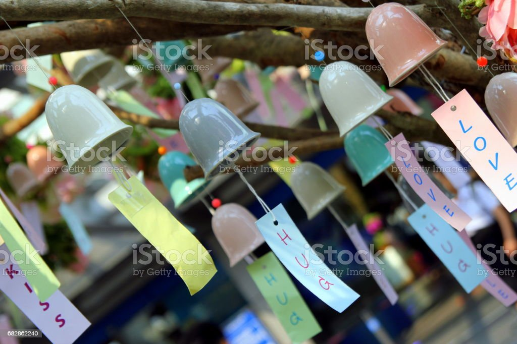 Travel to Bangkok, Thailand. The colorful bells with romantic inscriptions. stock photo