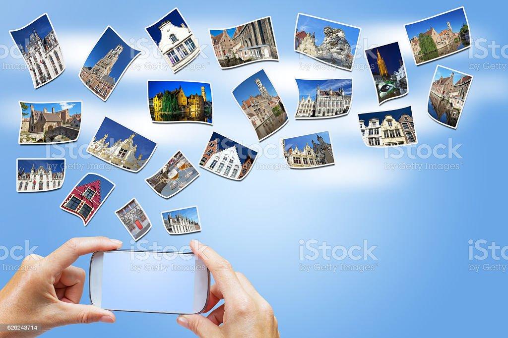 Travel to Bruges concept (Belgium) stock photo