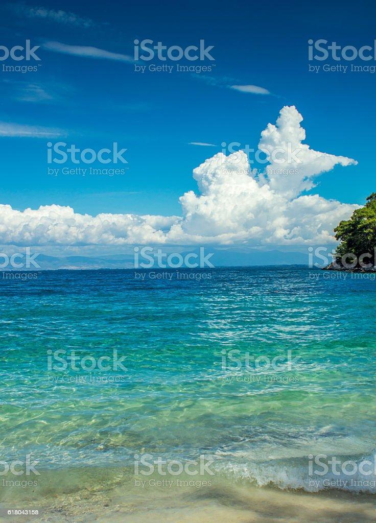 Travel to tropical beach in Caribbean sea stock photo