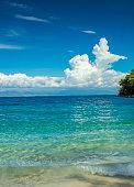 Travel to tropical beach in Caribbean sea