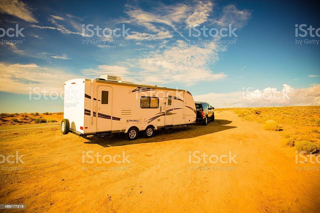 Travel Trailer Adventures stock photo
