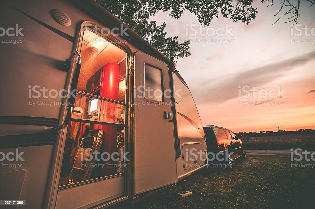 Travel Trailer Camping stock photo