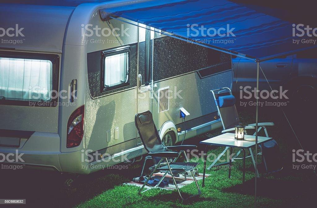 Travel Trailer Camping Setup stock photo