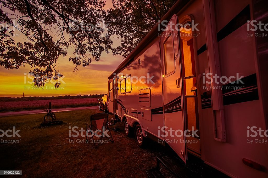 Travel Trailer Camping Spot stock photo