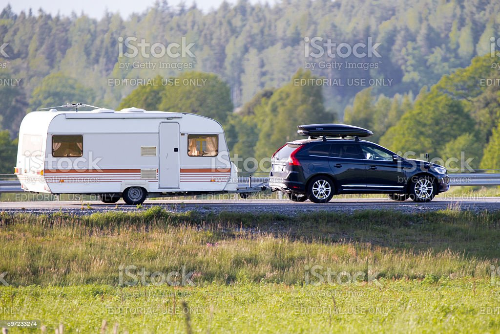 Travel trailer during summer stock photo