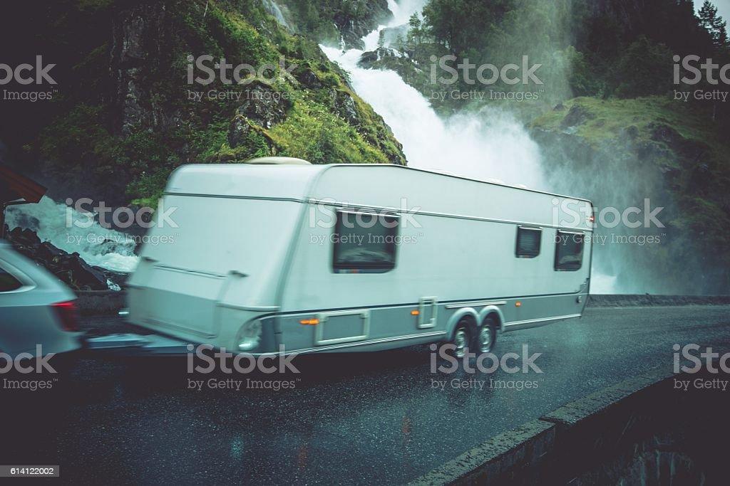 Travel Trailer Vacation Trip stock photo