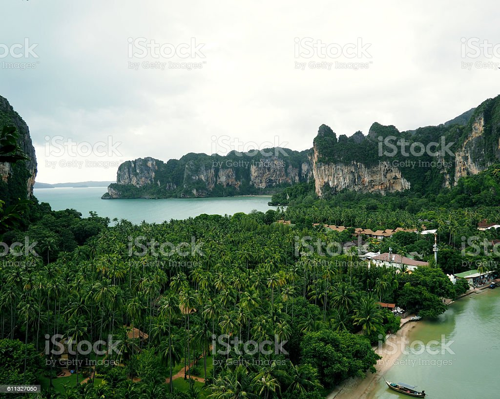 Travel vacation background - Tropical island with resorts view from stock photo