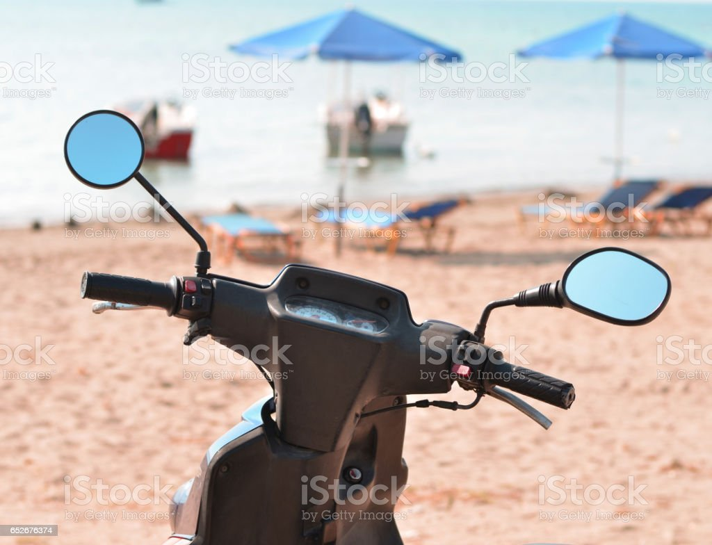 Travel with motor bike concept stock photo