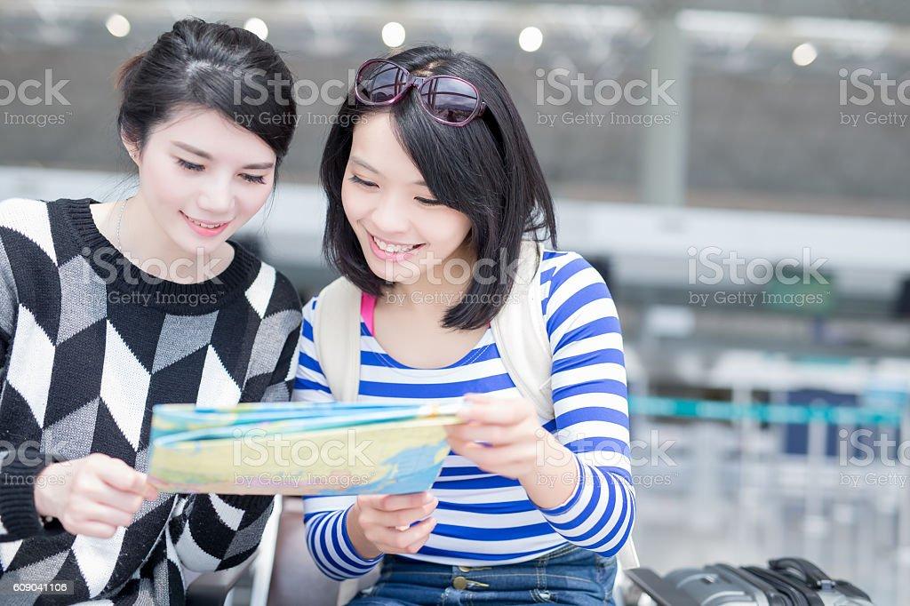 travel women hold map stock photo