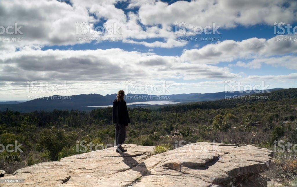 Traveler admiring nature, at the Grampians National Park stock photo