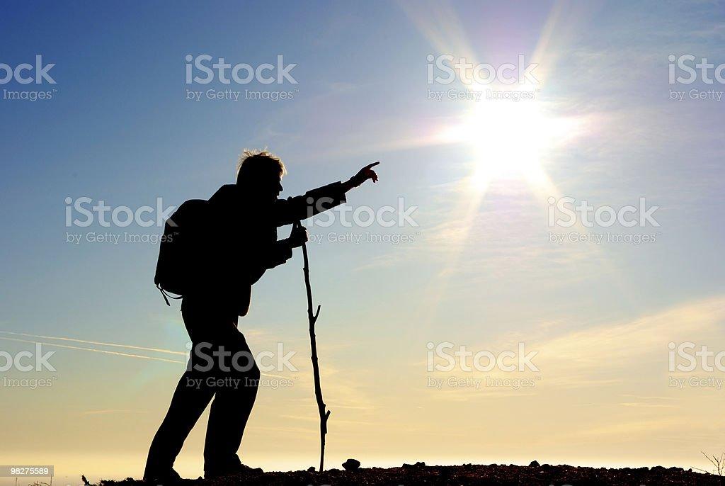 Traveler and big sun royalty-free stock photo