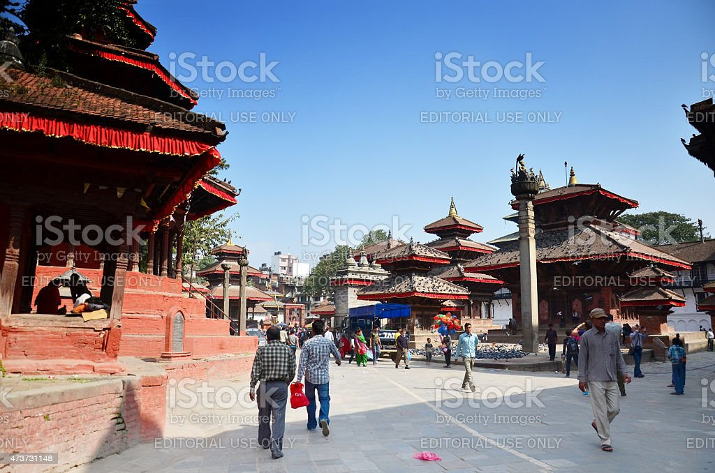 Traveler and nepalese people travel Basantapur Durbar Square stock photo