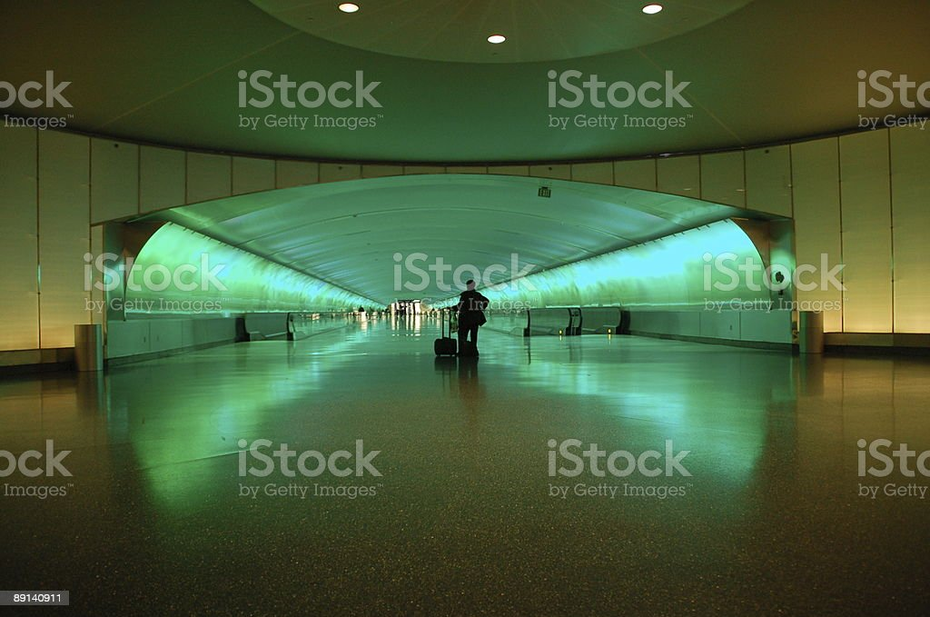 Traveler at Detroit Airport stock photo