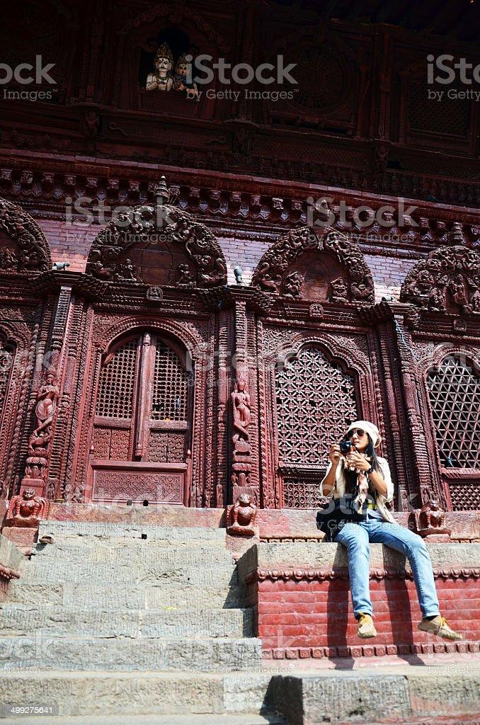 Traveler at Durbar square at Kathmandu Nepal stock photo