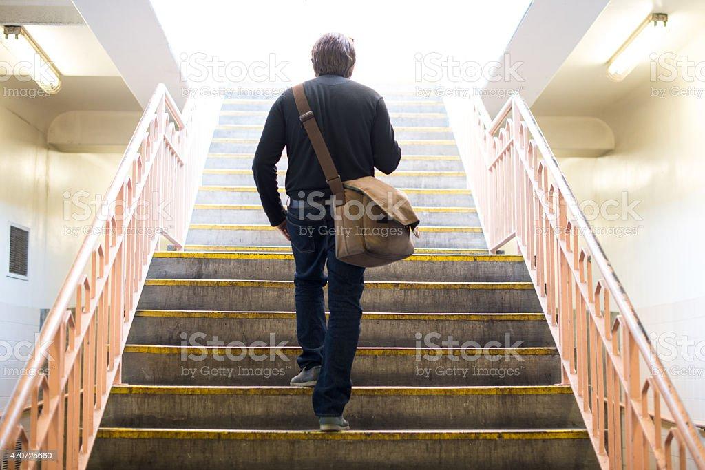 Traveler At Los Angeles Union Train Station stock photo