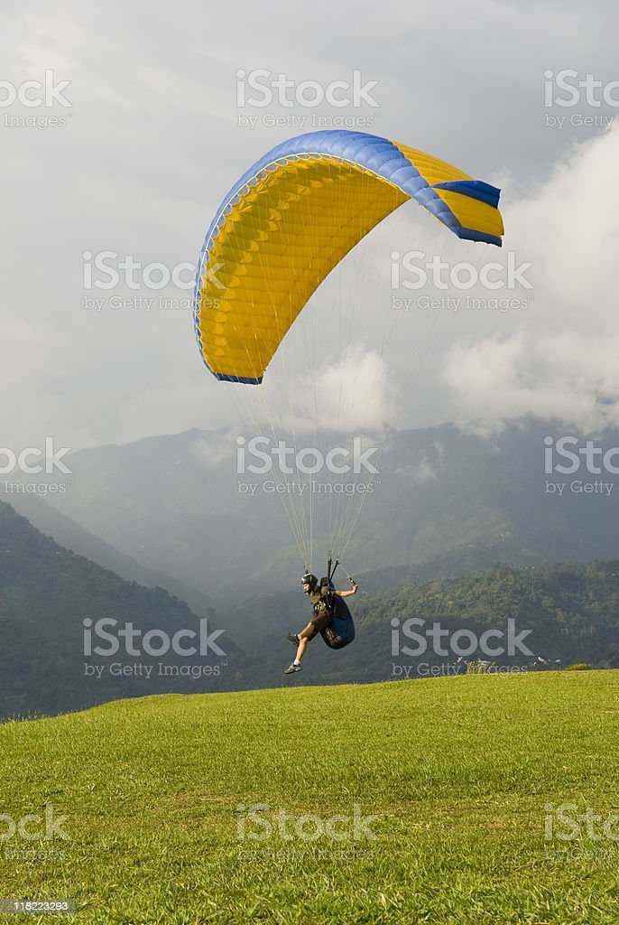paraglider takes off near Bucharamanga, Colombia stock photo