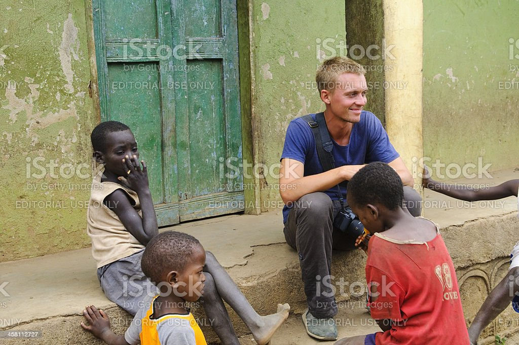 Traveler in Africa stock photo
