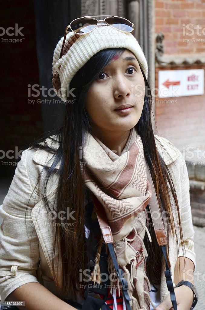 Traveler in Durbar square at Kathmandu Nepal stock photo