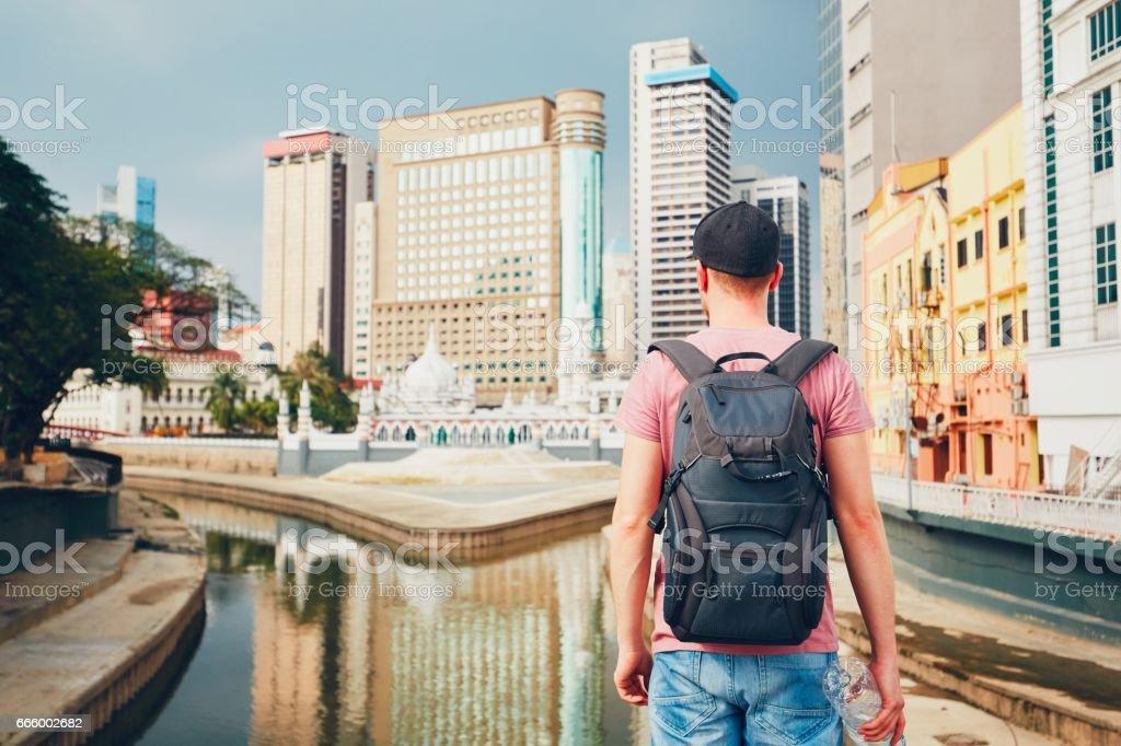 Traveler in Kuala Lumpur stock photo