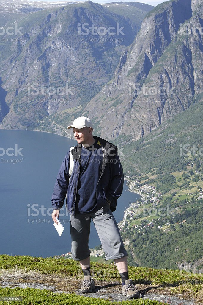Traveler in the mountains royalty-free stock photo
