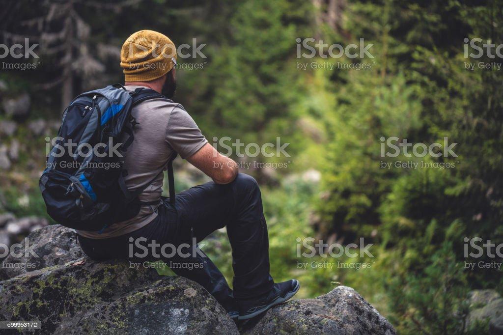 Traveler in the woods enjoying the view stock photo