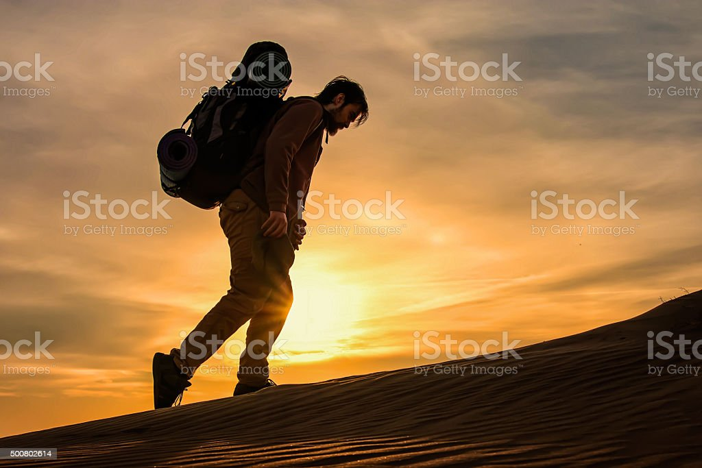 Traveler man walking in nature stock photo