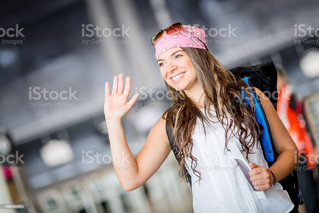 Traveler saying hello stock photo