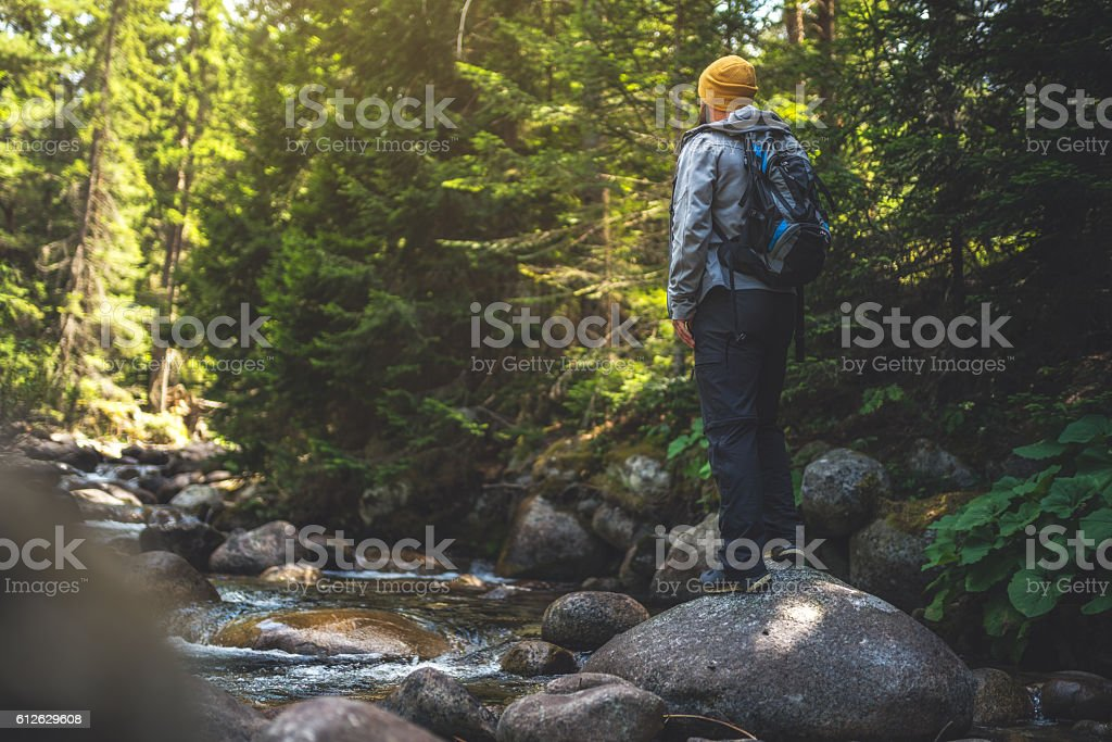 Traveler stands alone at the river in forest. stock photo