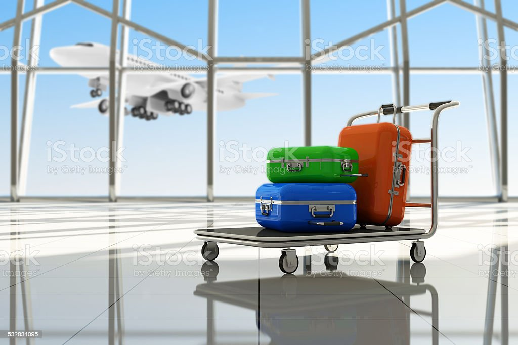 Traveler Suitcases in Airport Terminal Waiting Area stock photo