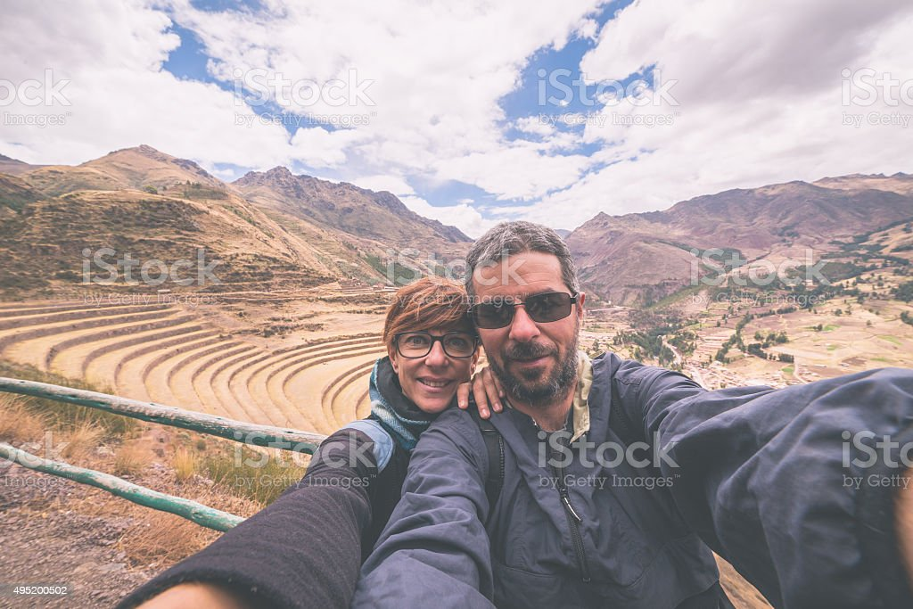 Traveler taking selfie in the Inca's Sacred Valley, Peru stock photo