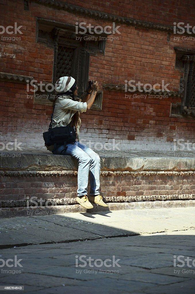 Traveler Thai woman at Durbar square at Kathmandu Nepal stock photo