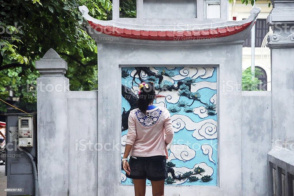 Traveler Thai Woman at Ngoc Son Temple at Hanoi Vietnam stock photo