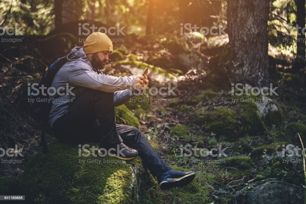 Traveler uses smartphone in the forest stock photo