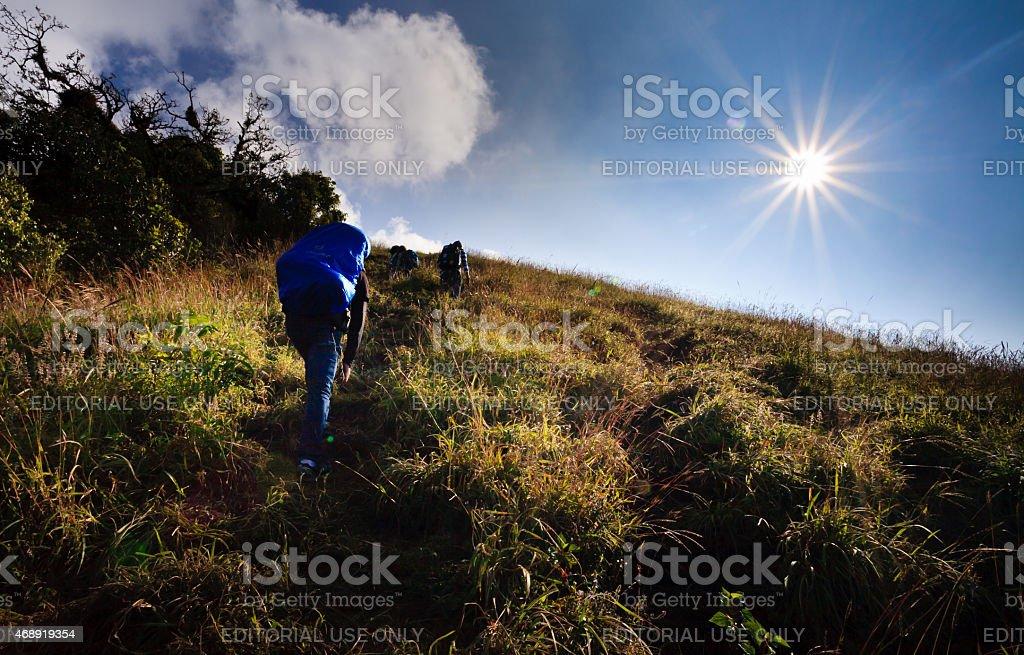 traveler walk along on a trail on the ridge. stock photo